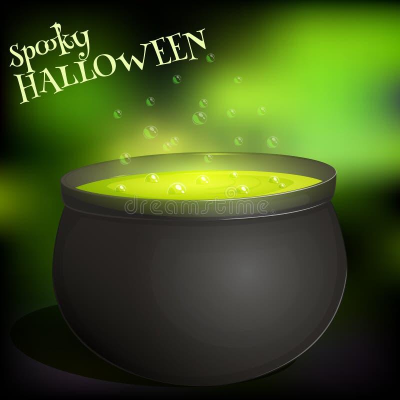 Czarownicy s kocioł z gotowanie zieleni napojem miłosnym dla Halloween w kreskówka stylu ilustracja wektor