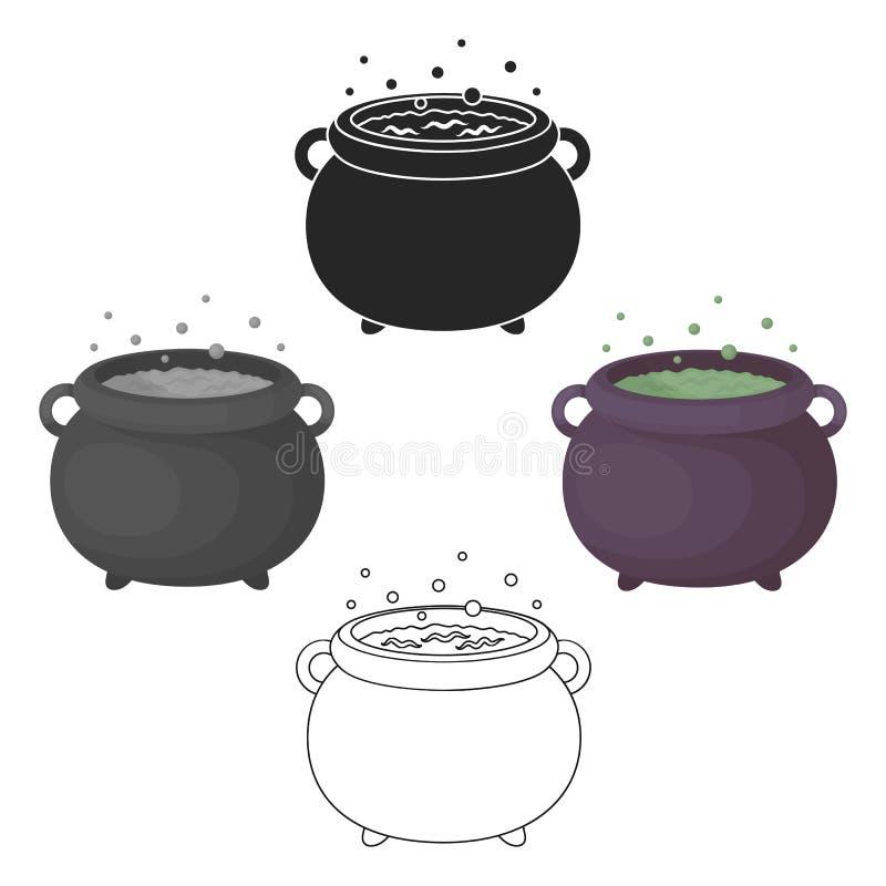 Czarownicy s kotła ikona w kreskówce, czerń styl odizolowywający na białym tle Czarny i bia?y magiczny symbolu zapasu wektor ilustracji