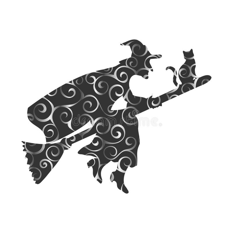 Czarownicy sylwetki fantazi magiczna deseniowa miotła ilustracji