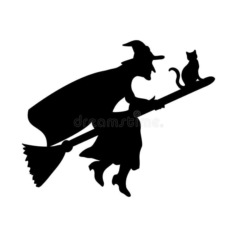 Czarownicy sylwetki fantazi magiczna miotła royalty ilustracja