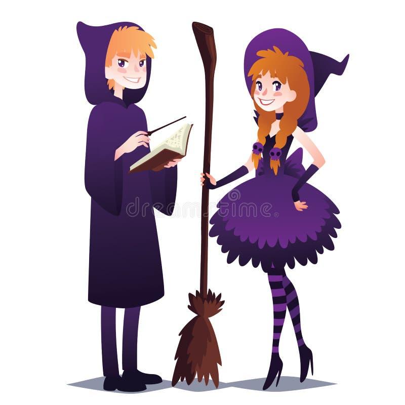 Czarownik chłopiec z książką i magicznym kijem Czarownicy dziewczyna z miotłą ilustracja wektor