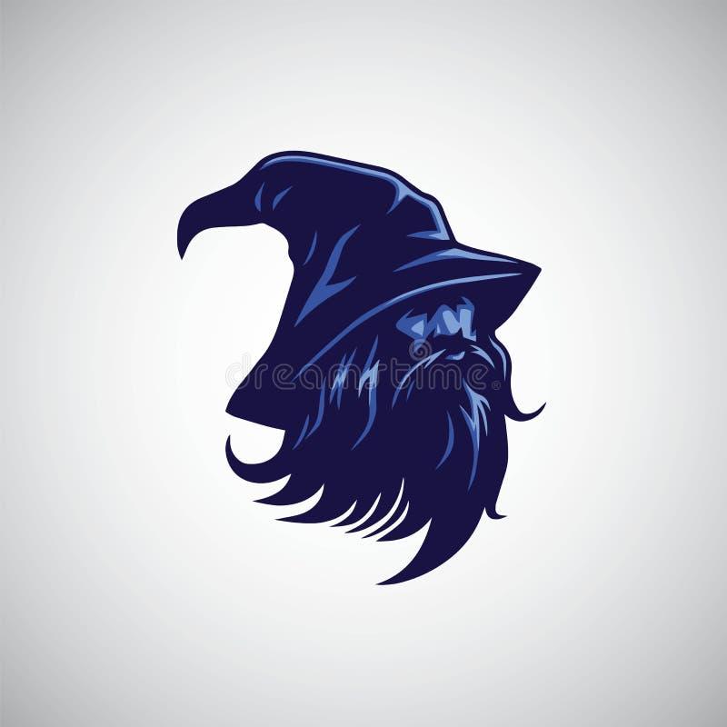 Czarownik, czarnoksiężnika loga projekta maskotki wektoru ilustracja ilustracja wektor