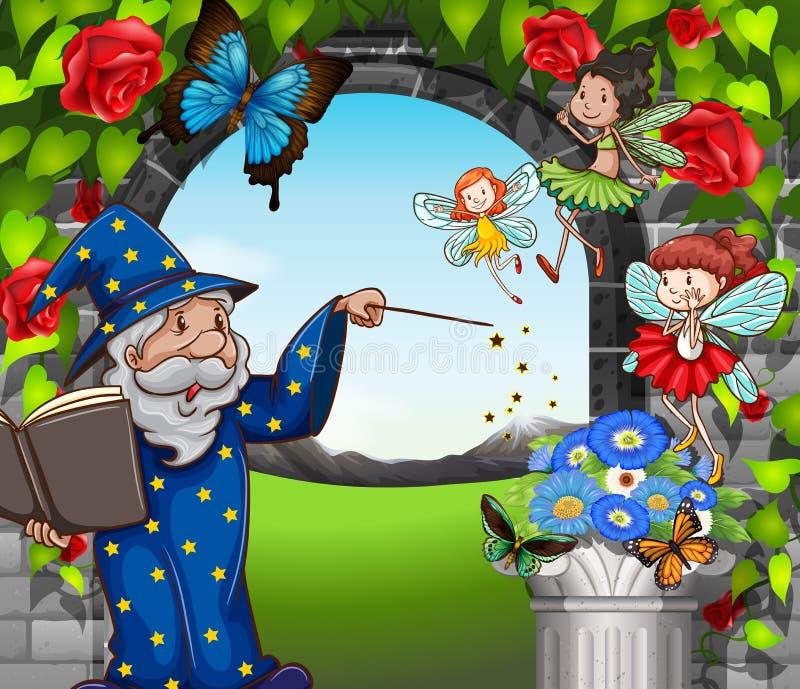 Czarownik i czarodziejki lata w ogródzie ilustracja wektor