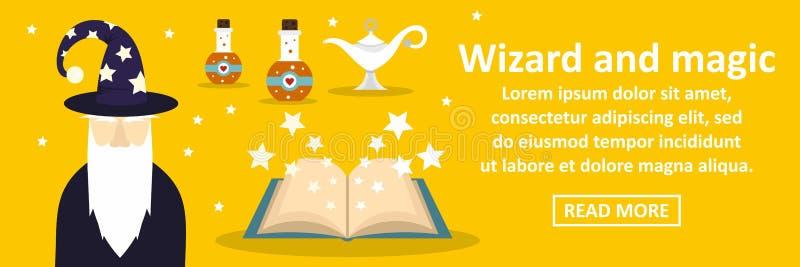 Czarownik i magia sztandaru horyzontalny pojęcie ilustracja wektor