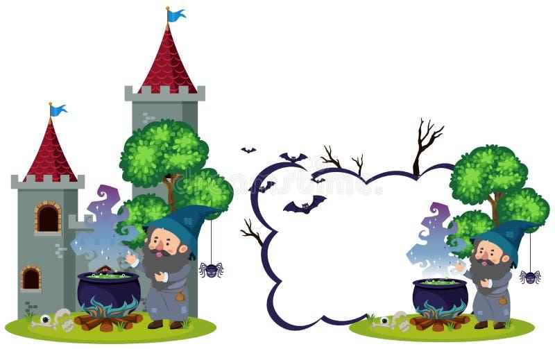 Czarownik i magiczny parzenie przy kasztelem royalty ilustracja