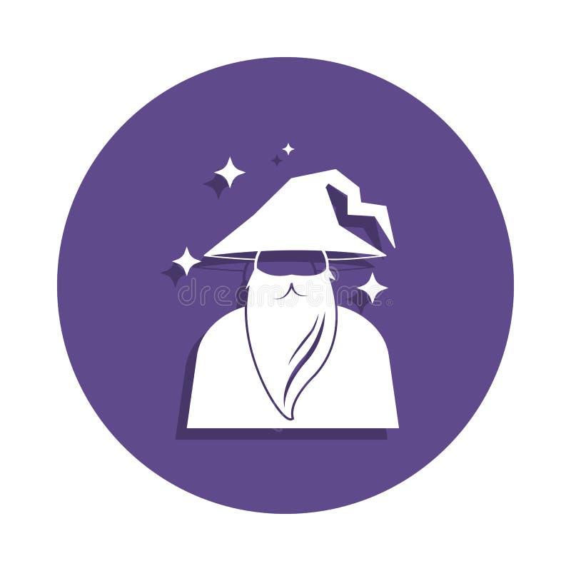 czarownik ikona w odznaka stylu Jeden Magiczna inkasowa ikona może używać dla UI, UX ilustracji