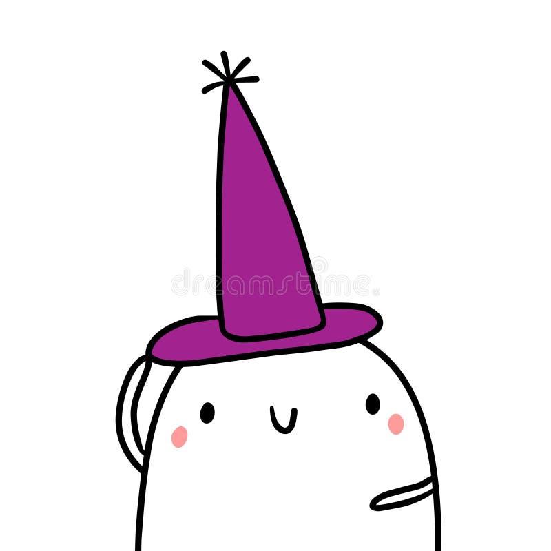 Czarownik kapeluszowa ręka rysująca ilustracja z ślicznym marshmallow royalty ilustracja