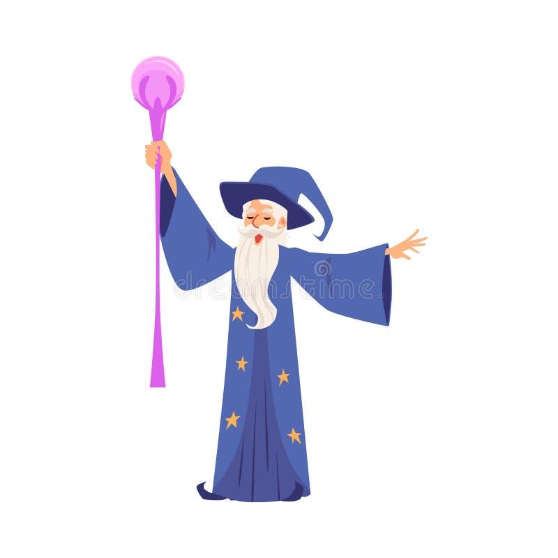 Czarownik lub magik tworzymy magiczn? p?ask? wektorow? ilustracj? odizolowywaj?c? na bielu ilustracja wektor
