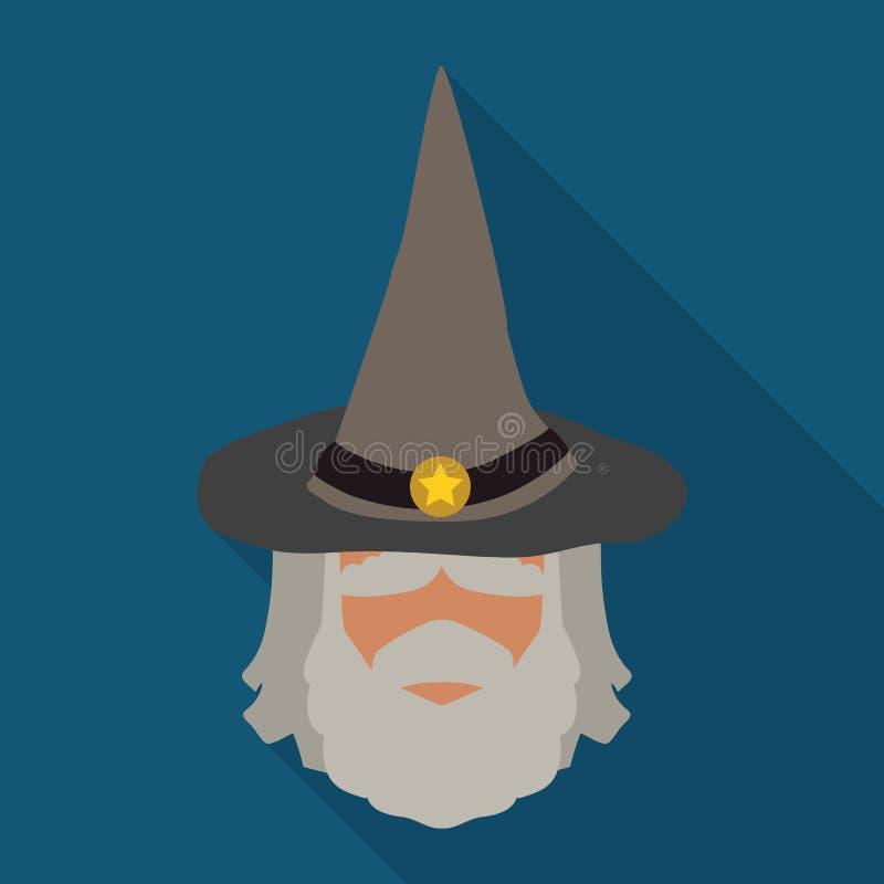 Czarownik mędrzec z Spiczastym kapeluszem, Wektorowa ilustracja ilustracja wektor