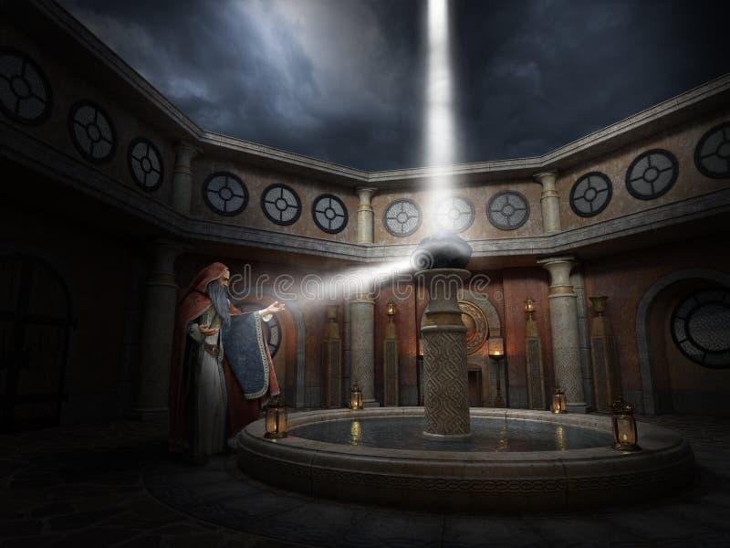 Czarownik, magia, władza, Duchowy odradzanie royalty ilustracja