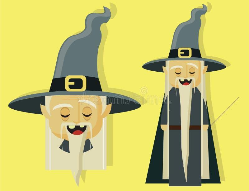Czarownik magiczny dla dzieciak opowieści i Halloween charakteru ilustracja wektor