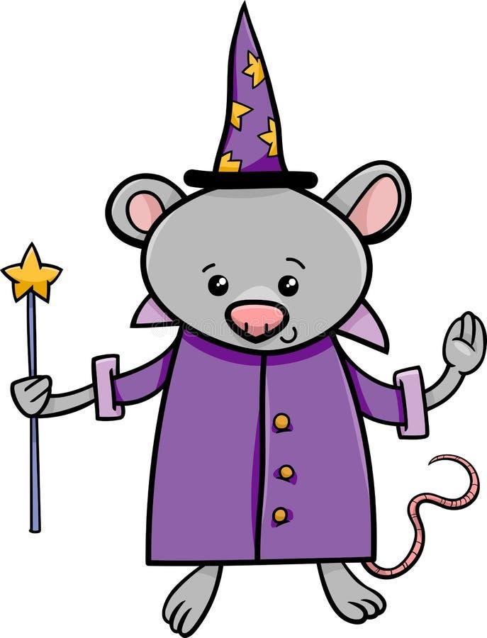 Czarownik myszy kreskówki ilustracja ilustracja wektor