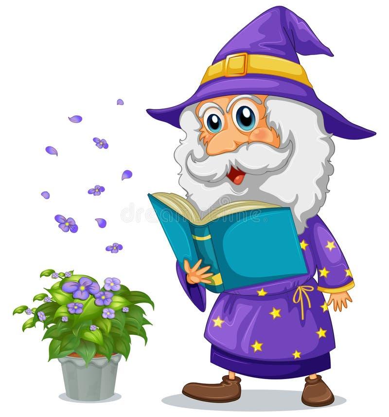 Czarownik trzyma książkę obok garnka z rośliną ilustracja wektor