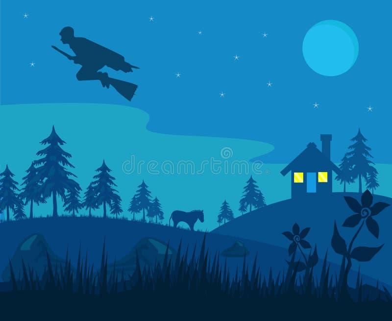 Czarownik w wiosce ilustracja wektor