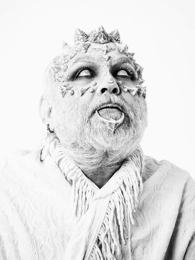 Czarownik z smok skórą zdjęcia royalty free