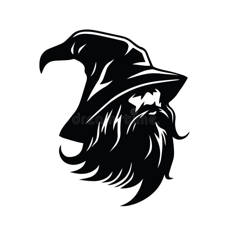 Czarownika loga charakteru projekta wektor ilustracja wektor