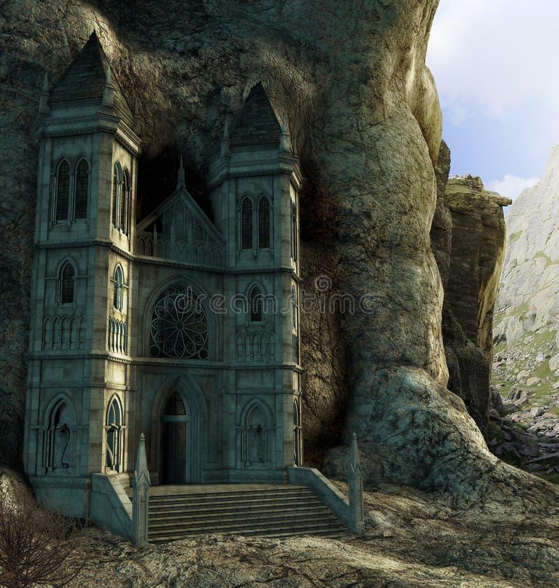 Czarowny chujący sanktuarium w górach royalty ilustracja