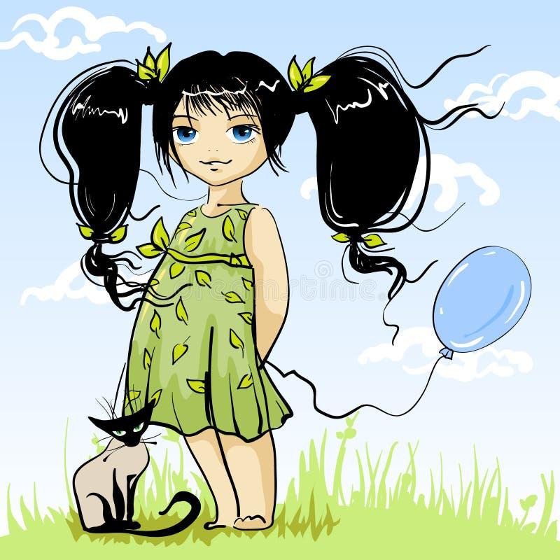 czarująca dziewczynko royalty ilustracja