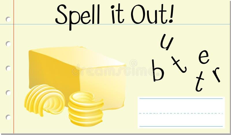 Czary angielszczyzn słowa masło ilustracja wektor