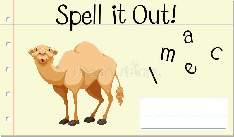 Czary angielszczyzn słowa wielbłąd ilustracja wektor