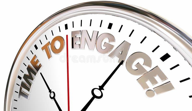 Czas Angażować antrakt Łączy Komunikuje zegar ilustracja wektor