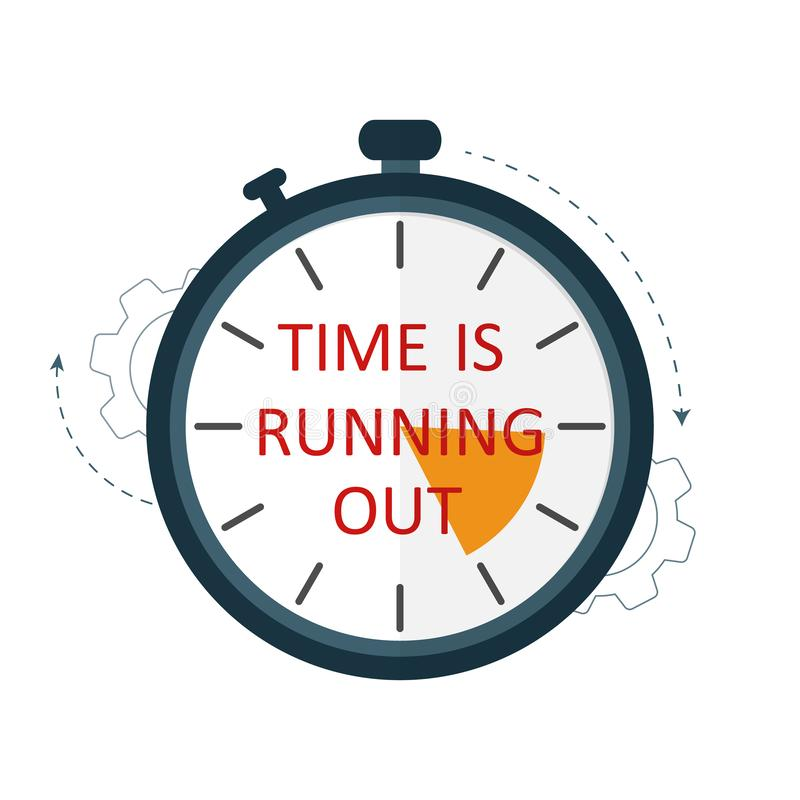 Czas biega za czasu ostrzeżenia stopwatch wektorze royalty ilustracja