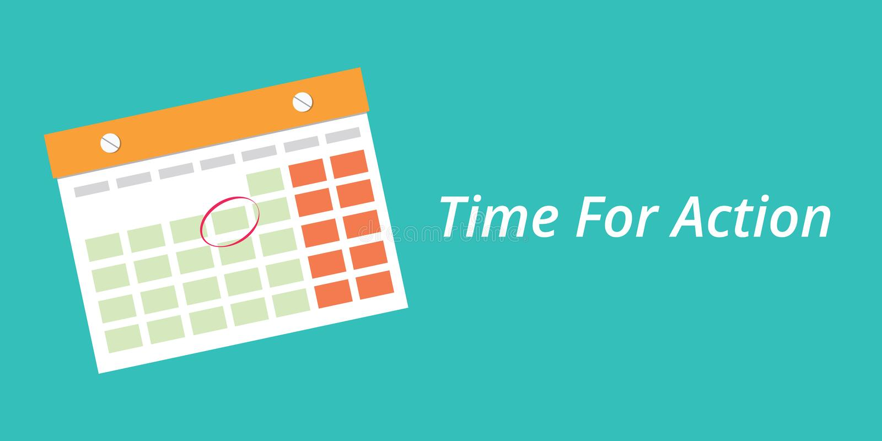 Czas dla akci pojęcia z kalendarzowym błękitnym tłem royalty ilustracja