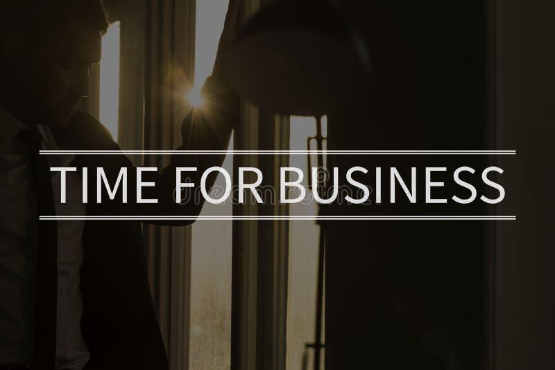 Czas dla biznesowego teksta nad konceptualną biznesową sceną obraz stock