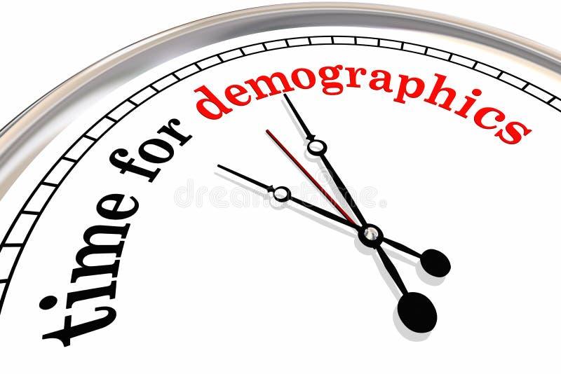 Czas dla demografia zegaru słów Bada widowni 3d Illustrat ilustracja wektor