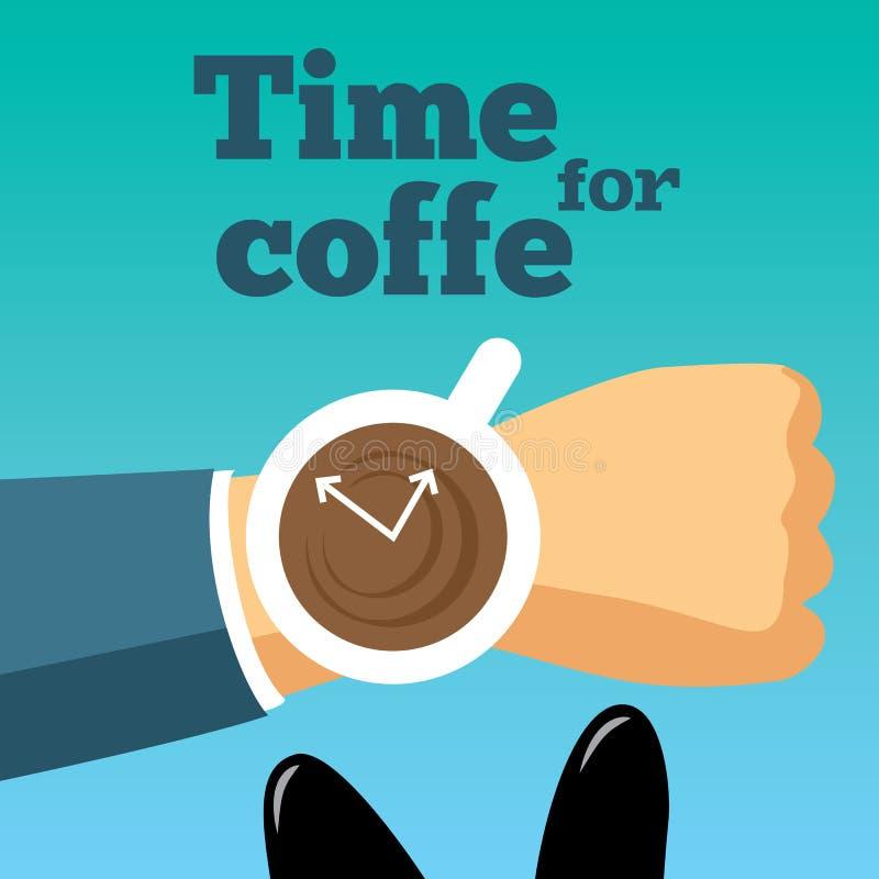 Czas dla kawowej wektorowej ilustraci Ranek ilustracji