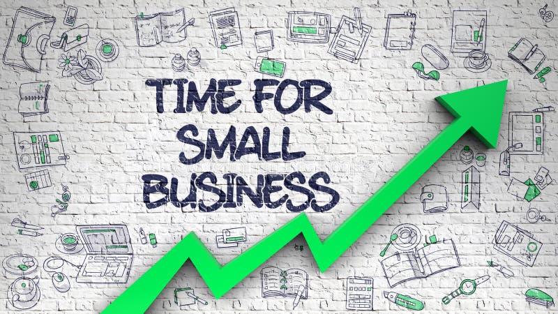 Czas Dla małego biznesu Rysującego na Białym Brickwall ilustracji