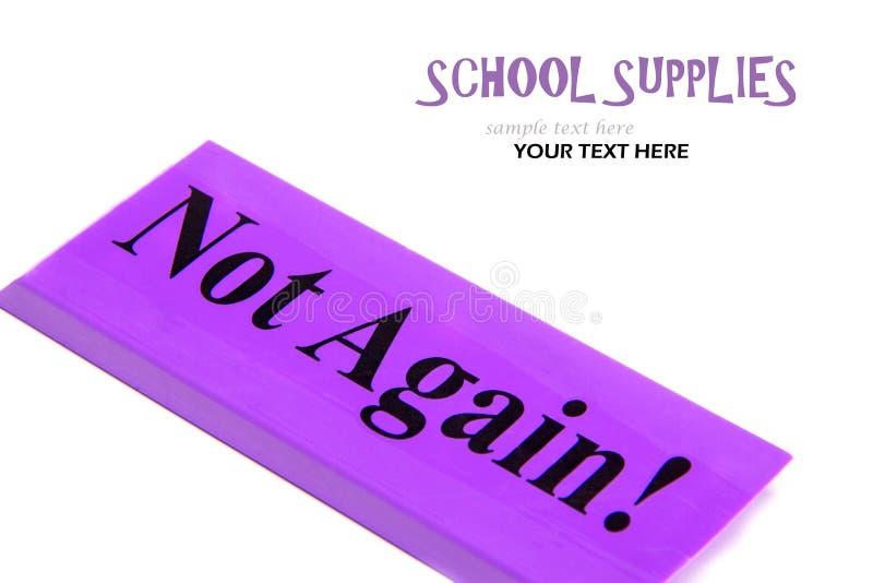 Czas dla nabywać szkolne dostawy Gumka z wiadomością znowu obrazy stock