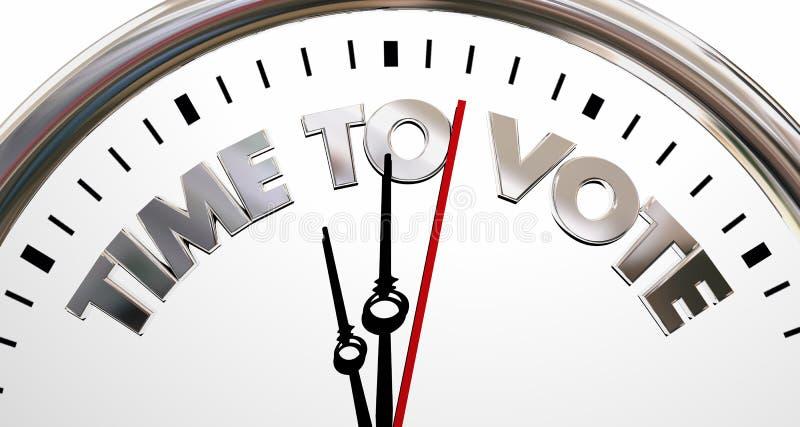 Czas Głosować Deomocracy wybory zegaru słowa ilustracji