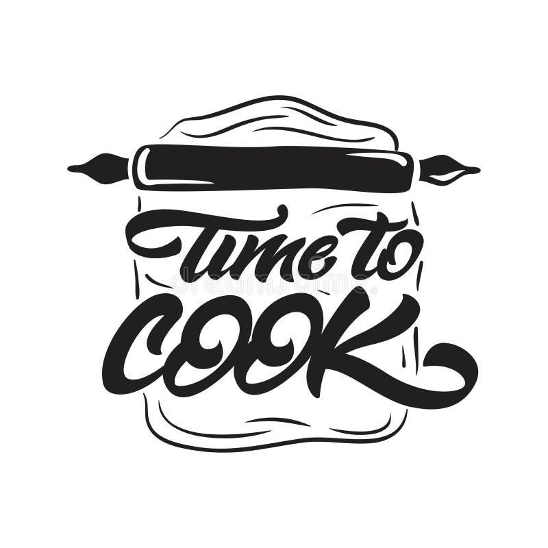 Czas gotować literowanie ilustrację z toczną szpilką Wektorowy ilustracyjny logo ilustracja wektor