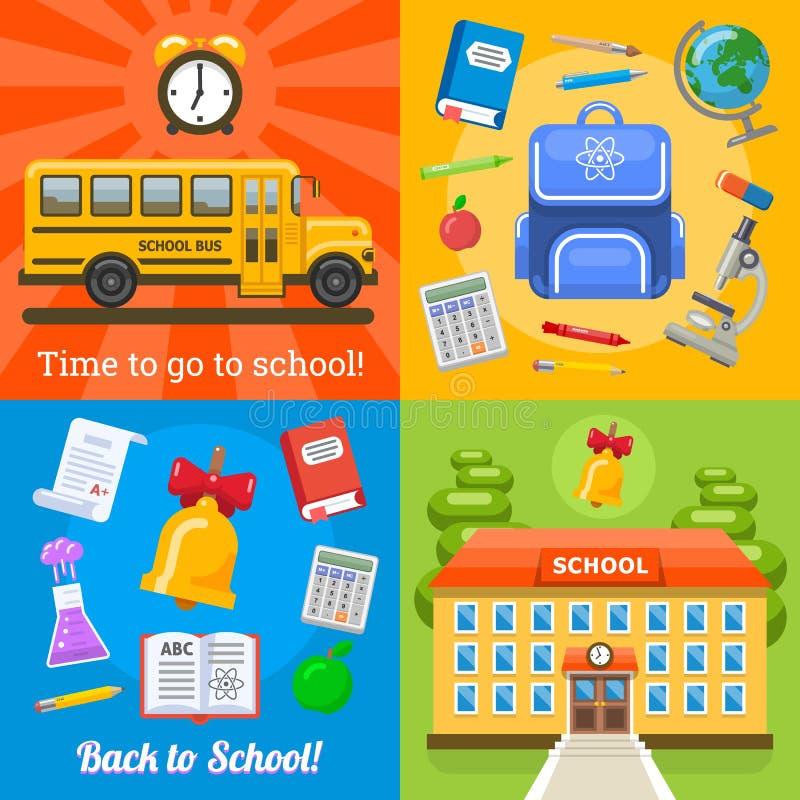 Czas iść szkoły cztery sztandary ilustracja wektor