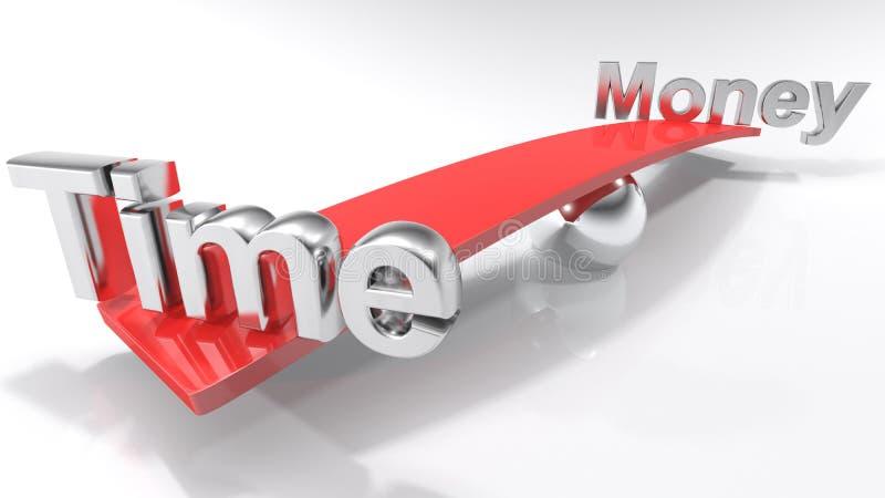 Czas i pieniądze przy przeciwnymi stronami czerwień balansujący bar - 3D rendering royalty ilustracja