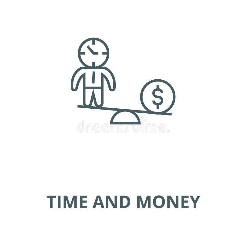 Czas i pieniądze skal wektor wykładamy ikonę, liniowy pojęcie, konturu znak, symbol ilustracja wektor