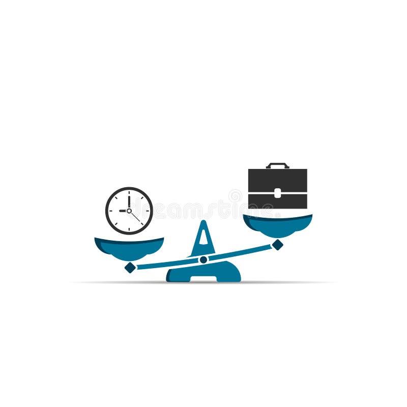Czas i praca na skali ikonie Zegar i torba Pracy i czasu równowaga na skali koloru p?omienia ustalonego symbolu wektor ilustracja wektor