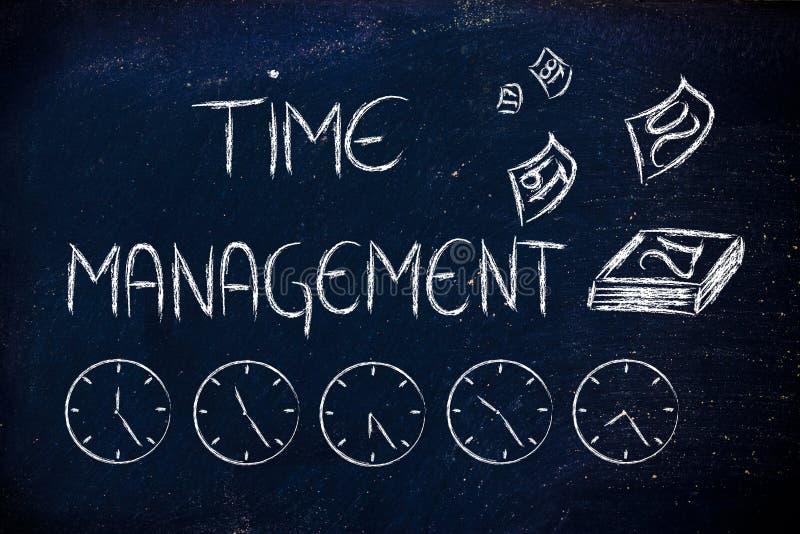 Czas i zarządzanie projektem dla globalnego biznesu ilustracja wektor