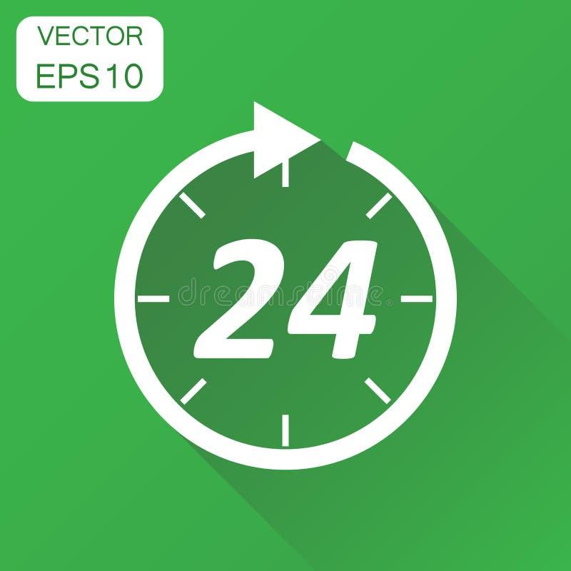 Czas ikona Biznesowy pojęcie 24 godziny zegarowego piktograma Wektorowa bolączka ilustracji