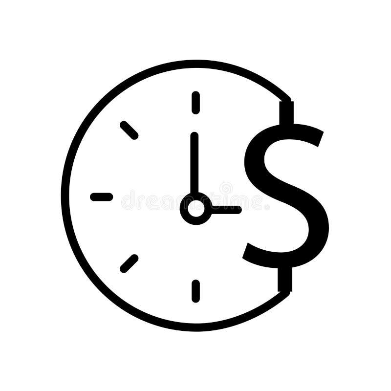 Czas jest pieniądze ikoną odizolowywającym na białym tle royalty ilustracja