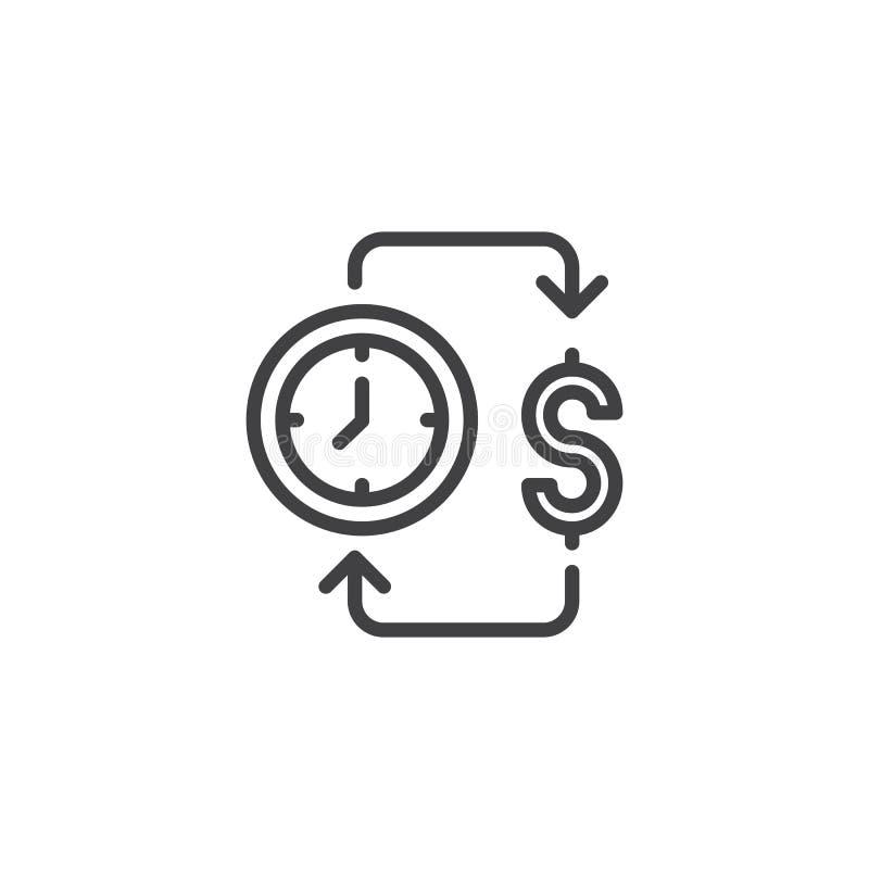 Czas jest pieniądze konturu ikoną royalty ilustracja