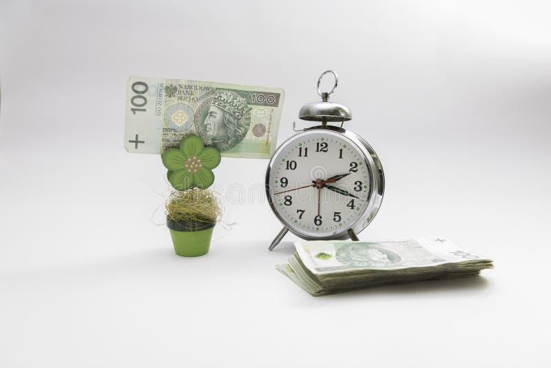 Czas jest pieniądze pieniądze oddzielał z zegarem i rośliną przy białym tłem obraz stock