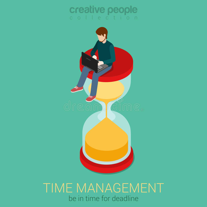 Czas jest pieniądze płaskiej 3d sieci isometric infographic biznesowym pojęciem royalty ilustracja