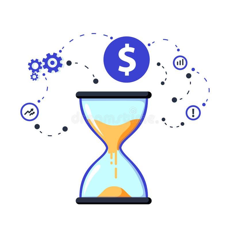 Czas jest pieniądze pojęciem, inwestycją długoterminową i pieniężnej przyszłości planowaniem, Rension savings funduszu finanse ro ilustracji