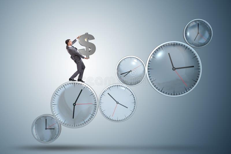 Czas jest pieniądze pojęciem z biznesmenem trzyma dolara zdjęcia stock