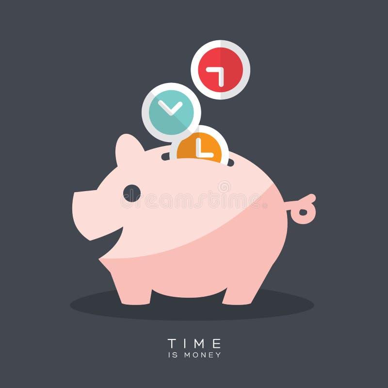 Czas jest pieniądze prosiątka bankiem ilustracja wektor
