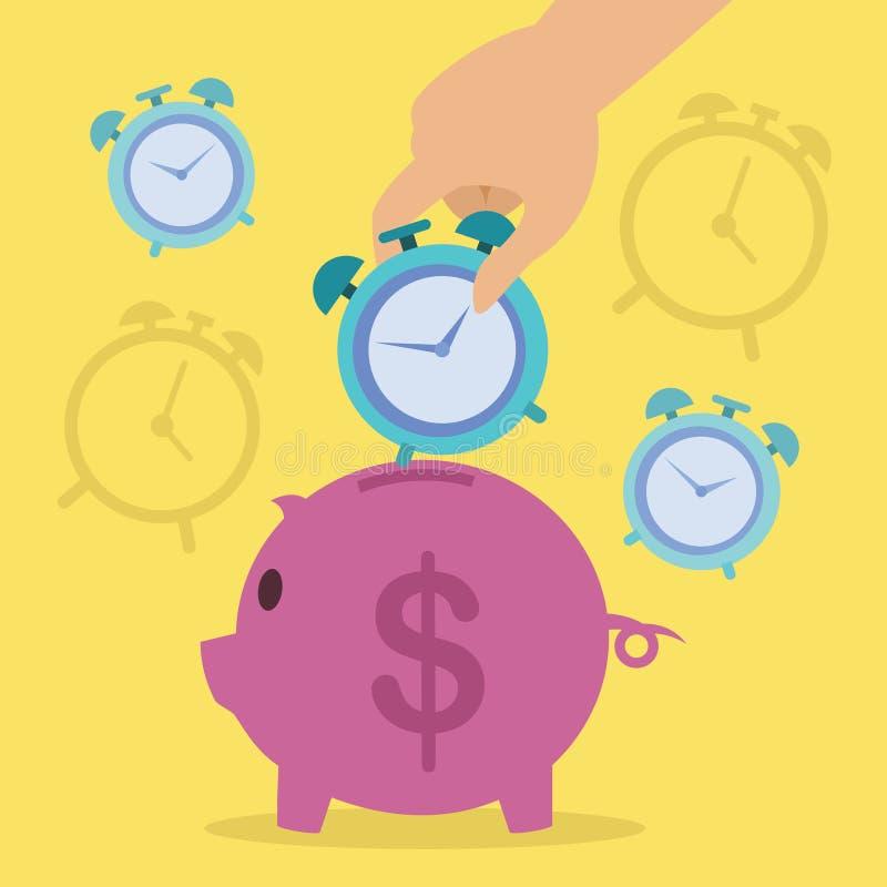 Czas jest pieniądze prosiątka bankiem z zegarową Wektorową ilustracją ilustracji