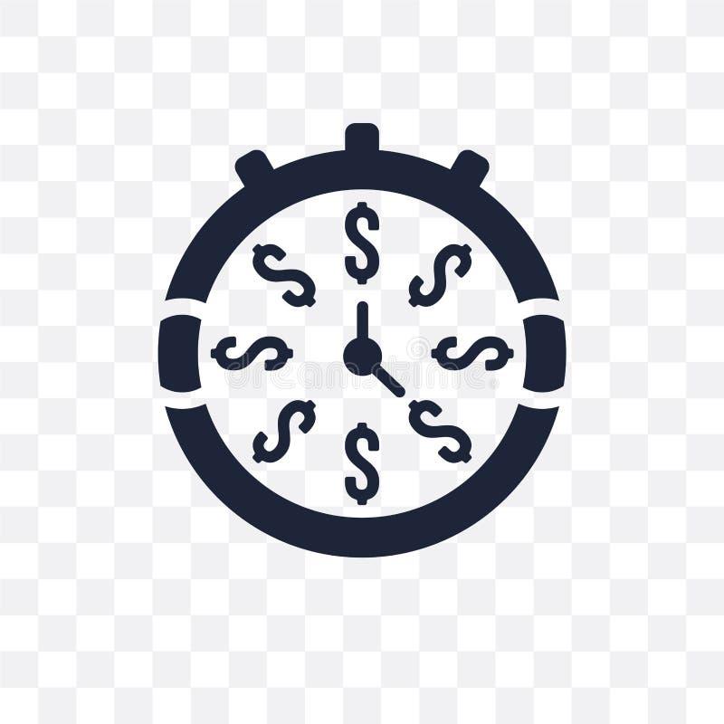 Czas jest pieniądze przejrzystym ikoną Czas jest pieniądze symbolu projektem od ilustracji