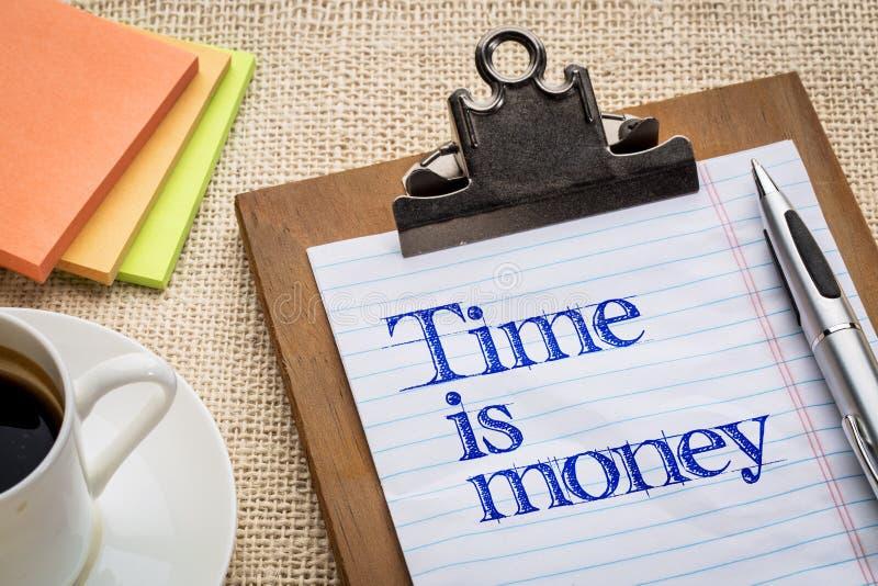 Czas jest pieniądze przypomnieniem na clipbard zdjęcie royalty free